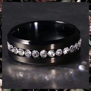 Black Stainless Steel Diamond Wedding Band Ring
